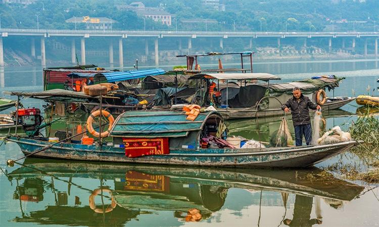 Thuyền đánh cá của ngư dân trên sông Trường Giang, Trung Quốc. Ảnh: SCMP.