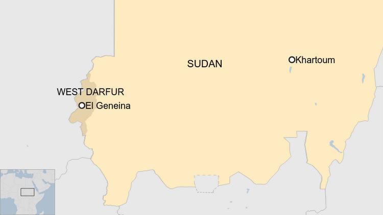 Vị trí thủ phủ El Geneina của tỉnh Tây Darfur ở Sudan. Đồ họa: BBC.