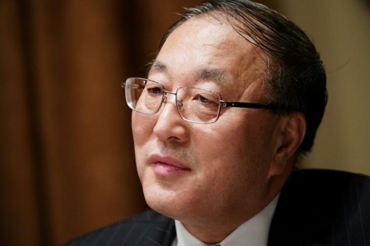 Đại sứ Trung Quốc tại Liên Hợp Quốc Zhang Jun trong cuộc họp ở Nhà Trắng, Washington, Mỹ, hôm 5/12/2019. Ảnh: AFP.