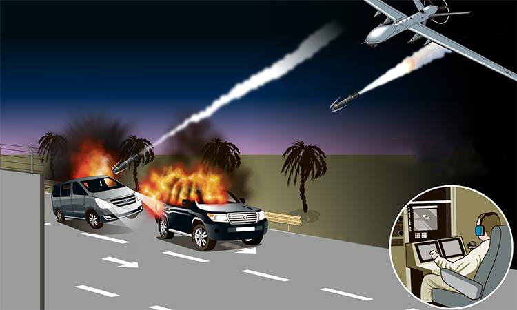 Đòn tên lửa Mỹ giết tướng Iran. Bấm vào ảnh để xem đầy đủ.