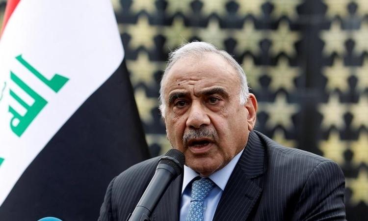 Thủ tướng Iraq Adel Abdul Mahdi phát biểu ở Baghdad hồi tháng 10/2019. Ảnh: Reuters.