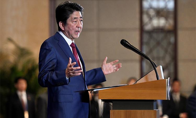 Thủ tướng Nhật Shinzo Abe phát biểu tại một sự kiện ở Tứ Xuyên, Trung Quốc ngày 24/12/2019. Ảnh: Reuters.