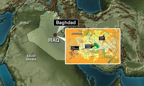 Vị trí Vùng Xanh ở trung tâm thủ đô Baghdad. Đồ họa: CNN.