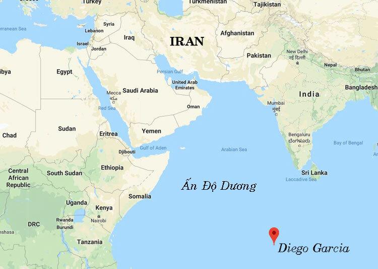 Vị trí đảo Diego Garcia tại Ấn Độ Dương (đánh dấu đỏ). Đồ họa: Google.