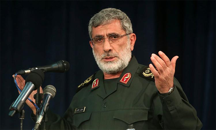 Chuẩn tướng Esmail Ghaani phát biểu trong cuộc họp tại Tehran, Iran tháng 11/2016, khi đó ông giữ chức phó chỉ huy đặc nhiệm Quds. Ảnh: AP.