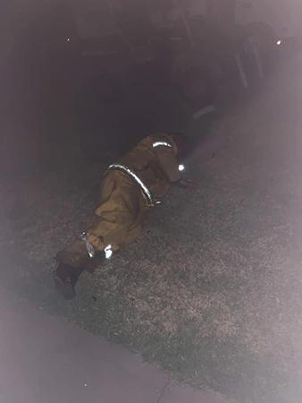 Bức ảnh chụp cha của O'Keeffe nghỉ trên cỏ sau khi chữa cháy. Ảnh: Jenna O'Keeffe/Facebook