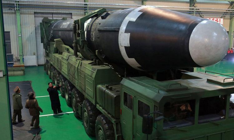 Tên lửa đạn đạo xuyên lục địa Hwasong-15 được Triều Tiên ra mắt cuối năm 2017. Ảnh: KCNA.
