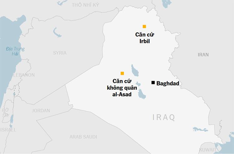 Vị trí căn cứ không quân al-Asad và Irbil ở Iraq. Đồ họa: NYTimes.