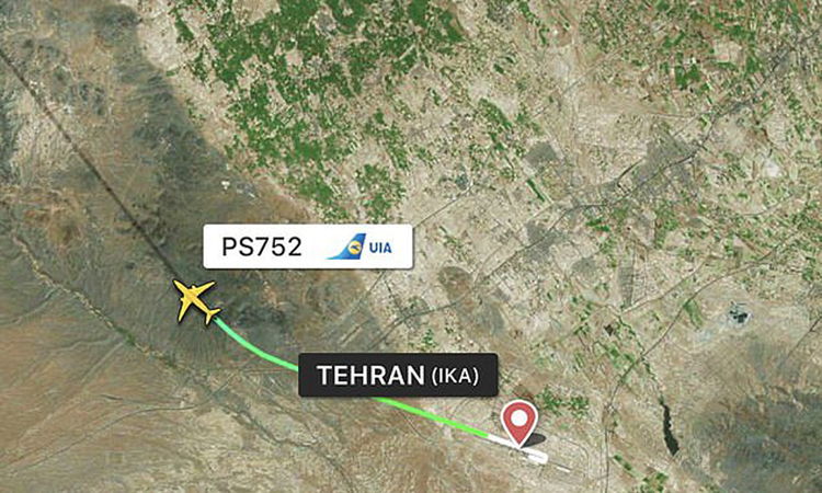 Lộ trình của chiếc Boeing 737 trước khi gặp nạn gần sân bay quốc tế ở Tehran hôm nay. Đồ họa: Flightradar24.
