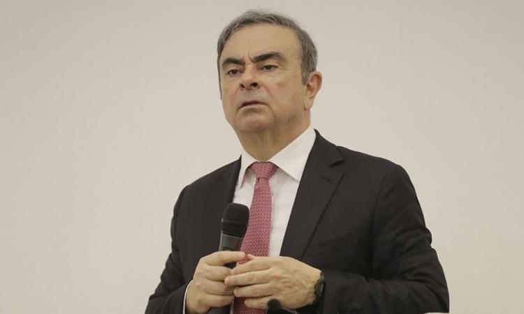 Carlos Ghosn họp báo tại Lebanon ngày 8/1. Ảnh: AFP.