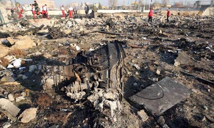 Mảnh vỡ máy bay tại hiện trường vụ tai nạn ngày 8/1. Ảnh: AFP.