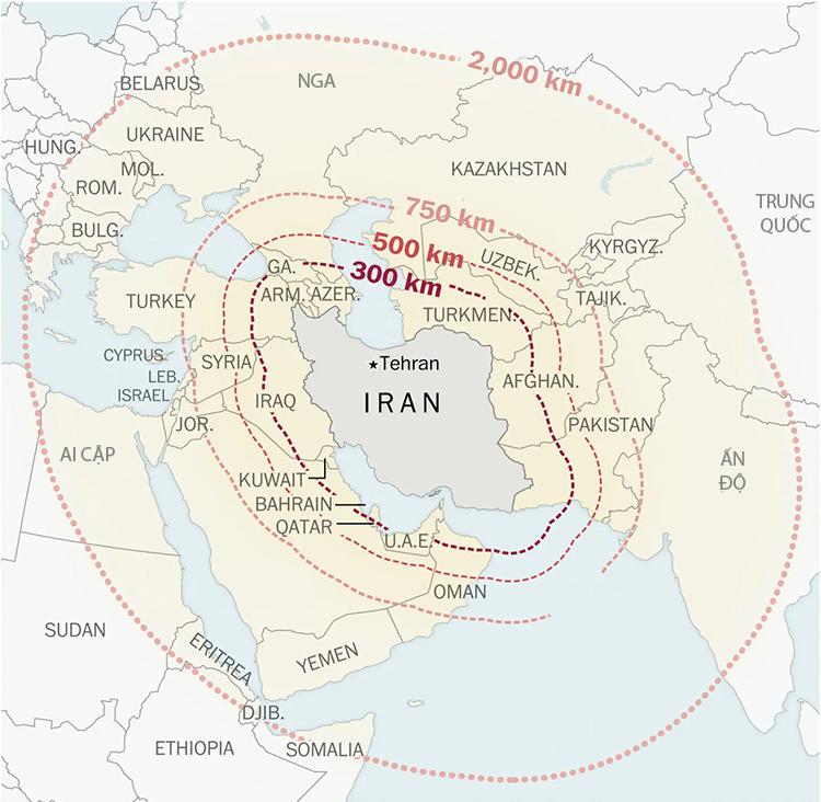 Tầm bắn của các loại tên lửa Iran đang sở hữu. Đồ họa: Washington Post.