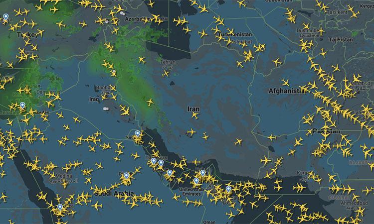 Mật độ các chuyến bay hoạt động trong không phận Iran và Iraq sáng 8/1. Ảnh: Flightradar24.