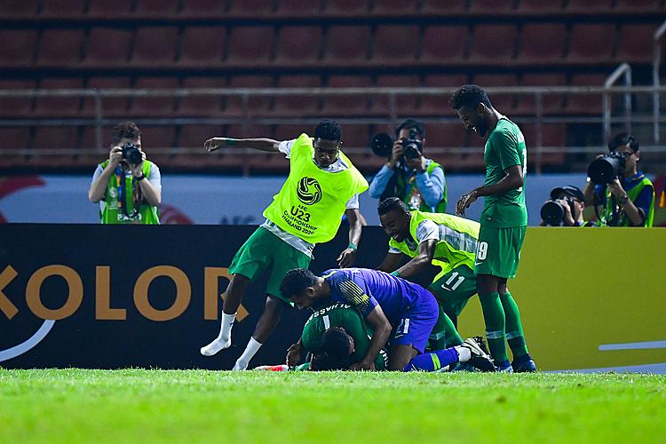Cầu thủ Saudi Arabia mừng bàn thắng cuối trận. Ảnh: AFC.