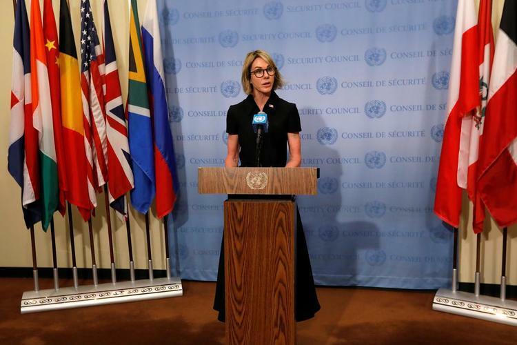 Đại sứ Mỹ tại Liên Hợp Quốc Kelly Craft phát biểu trước phóng viên tại trụ sở Liên Hợp Quốc ở New York, tháng 9/2019. Ảnh: Reuters.