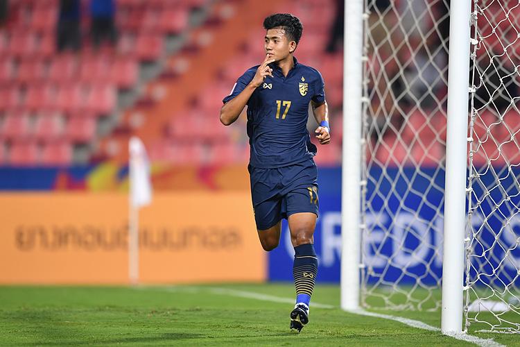 Suphanat ghi bàn đầu tiên cho Thái Lan tại U23 châu Á 2020. Ảnh: AFC.