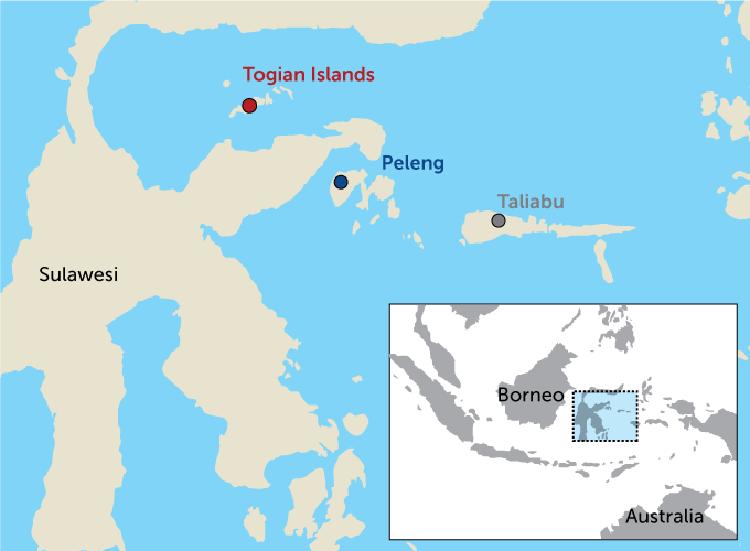 Vị trí cụm đảo Taliabu, Peleng và Togian của Indonesia. Ảnh: Science News.