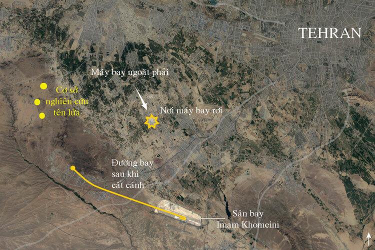 Vị trí máy bay Ukraine gặp nạn ở ngoại ô Tehran. Đồ họa: NYTimes.