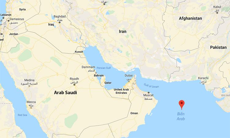Vị trí biển Arab (đánh dấu đỏ), nơi tàu trinh sát Nga suýt đâm khu trục hạm Mỹ hôm 9/1. Đồ họa: Google,