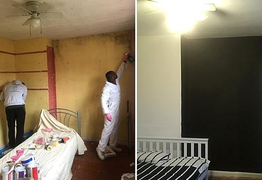 Một căn phòng trước và sau khi được trang trí lại. Ảnh: Carter news