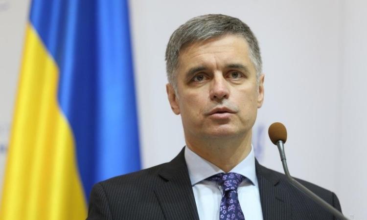 Ngoại trưởng Ukraine Vadym Prystaiko tại Kiev hôm 10/10/2019. Ảnh: Reuters.