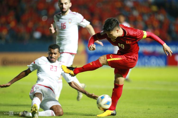 Quang Hải bỏ lỡ một cơ hội ghi bàn khi Việt Nam hoà UAE 0-0 ngày 10/1. Ảnh: Lâm Thoả