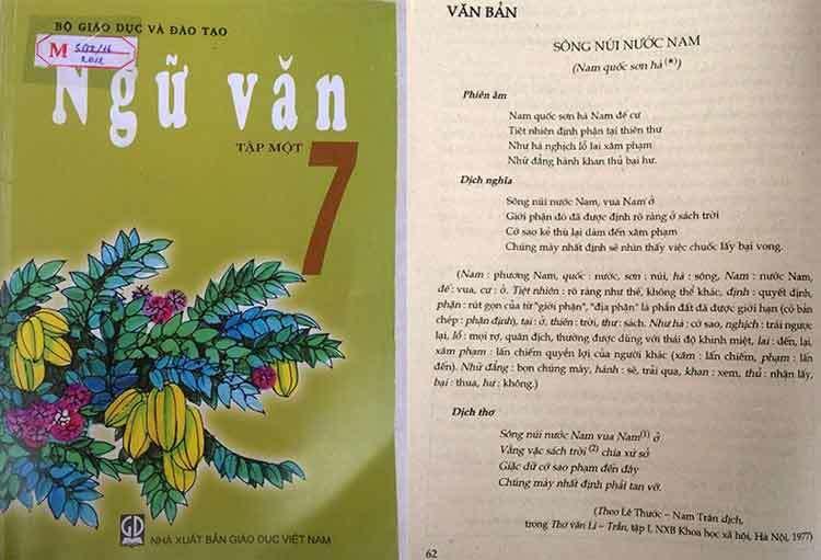 Sách Ngữ văn lớp 7 có nhiều tác phẩm văn học trung đại phiên âm từ chữ Hán. Ảnh: H.P.