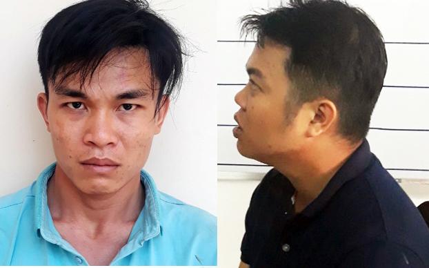 Nguyễn Quốc Toàn (trái) và Nguyễn Chí Tâm sau khi bị bắt. Ảnh: Công an Trà Vinh cung cấp.