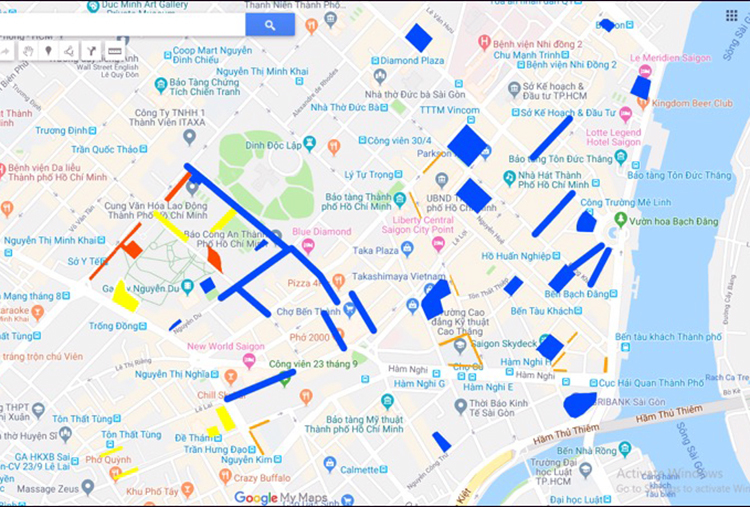 Sơ đồ vị trí một số điểm trông giữ xe tại khu vực trung tâm TP HCM. Ảnh: Sở GTVT TP HCM