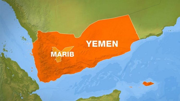 Vị trí tỉnh Marib của Yemen. Đồ họa: BBC.