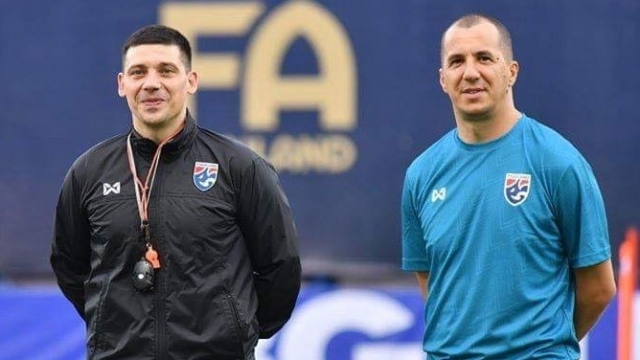 HLV thể lực Stamenkovic (trái) và HLV thủ môn Todic cùng rời FAT sau năm 2019.