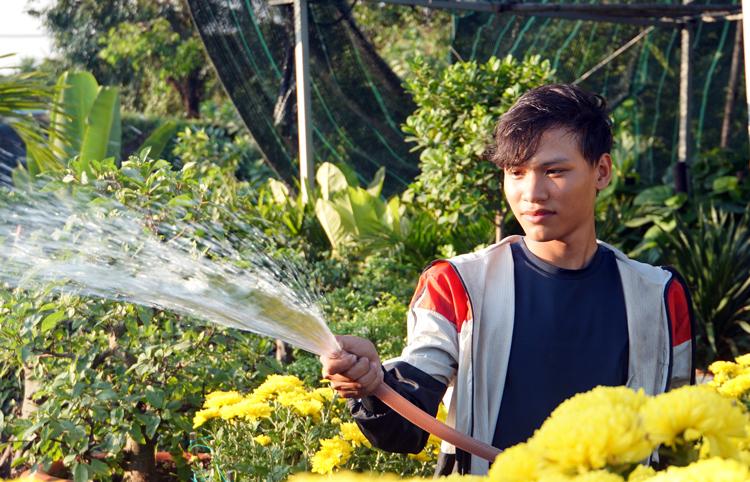 Trần Xuân Đức tưới vườn cây cảnh trên đường Phạm Văn Đồng (quận Thủ Đức) trưa 20/1. Ảnh: Mạnh Tùng.