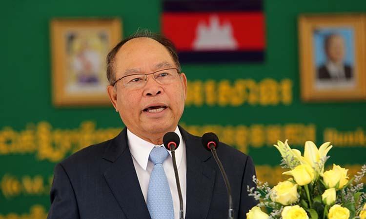 Bộ trưởng Y tế Campuchia Bun Heng phát biểu tại một sự kiện ở Campuchia tháng 5/2018. Ảnh: Khmer Times.