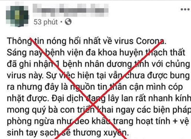 Một nam thanh niên ở Quốc Oai thông tin sai về dịch nCoV ở huyện Thạch Thất, Hà Nội.