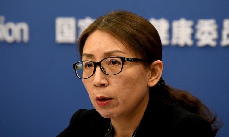 Phó giám đốc Ủy ban Y tế Quốc gia Trung Quốc Jiao Yahui tại buổi họp báo ở Bắc Kinh hôm 28/1. Ảnh: AFP.