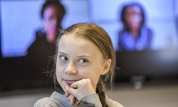 Greta Thunberg trong một cuộc họp báo ở Stockholm, Thụy Điển, ngày 31/1. Ảnh: AFP.