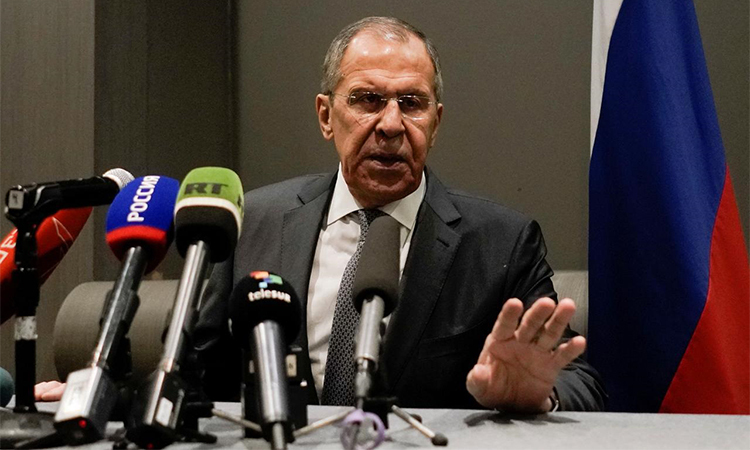 Ngoại trưởng Nga Sergei Lavrov phát biểu tại họp báo ở Mexico hôm 6/2. Ảnh: Reuters.