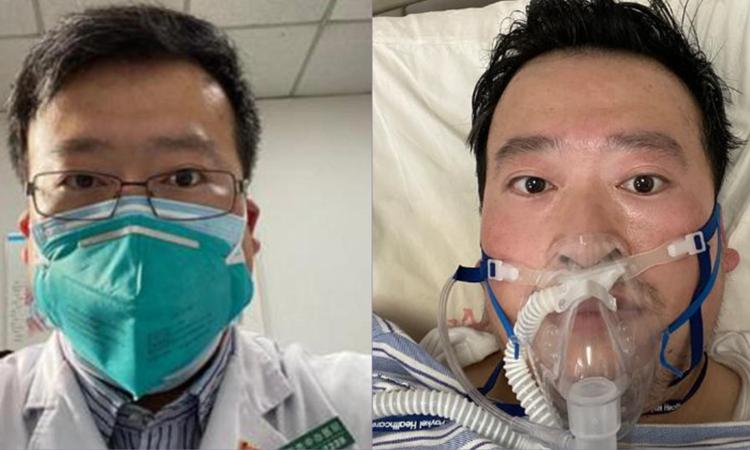 Bác sĩ Lý Văn Lượng trước và sau khi nhiễm nCoV. Ảnh: Weibo.