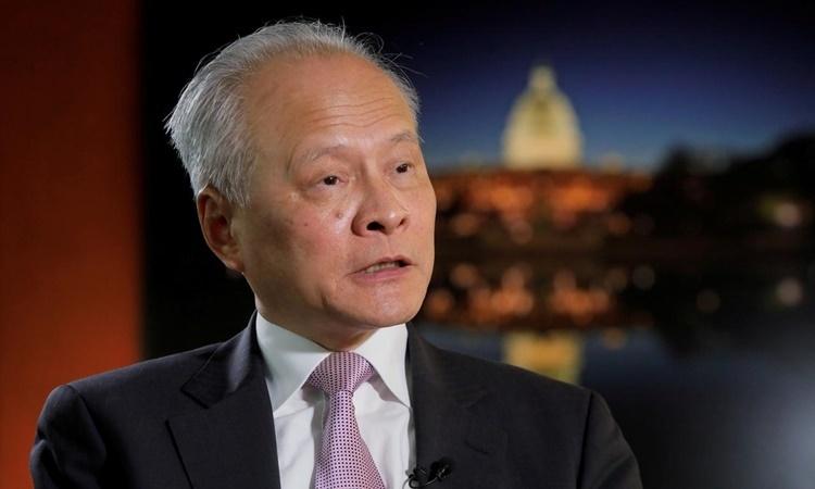 Đại sứ Trung Quốc tại Mỹ Thôi Thiên Khải trả lời câu hỏi của phóng viên ở Washington hồi tháng 11/2018. Ảnh: Reuters.
