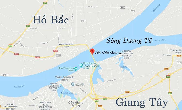 Cầu Cửu Giang bắc qua sông Dương Tử nối giữa Giang Tây và Hồ Bắc. Đồ họa: Google Map.