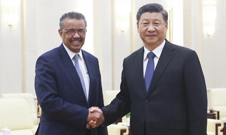 Chủ tịch Trung Quốc Tập Cận Bình tiếp Tổng giám đốc WHO Tedros Adhanom Ghebreyesus tại Bắc Kinh ngày 29/1. Ảnh: Xinhua.