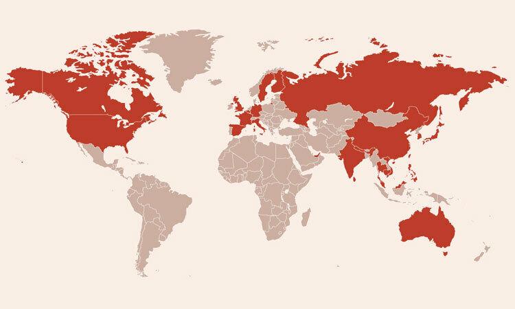 Các nước có bệnh nhân nhiễm virus corona. Bấm vào hình để xem chi tiết.