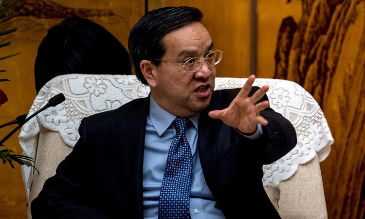 Cựu bí thư tỉnh ủy Hồ Bắc Tưởng Siêu Lương trong một cuộc họp tại Vũ Hán hồi tháng 2/2017. Ảnh: AFP.