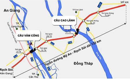 Ttuyến Lộ Tẻ - Rạch Sỏi sẽ kết nối vào cầu Vàm Cống, cầu Cao Lãnh, tuyến Mỹ An - Cao Lãnhhình thành trục cao tốc phía Tây Đồng bằng sông Cửu Long. Ảnh: Cửu Long.