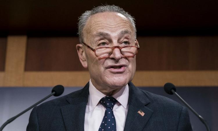 Thượng nghị sĩ Schumer phát biểu sau cuộc bỏ phiếu. Ảnh: AFP.