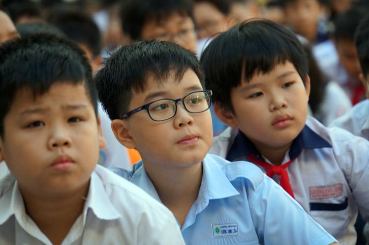 Học sinh dự thi tại trường THPT Trần Đại Nghĩa, quận 1. Ảnh: Mạnh Tùng
