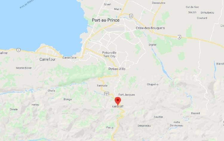 Vị trí thị trấn Kenscoff của Haiti (đánh dấu đỏ). Đồ họa: Google.