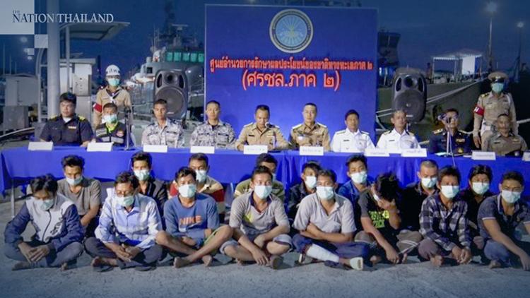 21 thuyền viên Việt Nam bị hải quân Thái Lan giữ lại và cách ly kiểm tra virus corona. Ảnh: The Nation