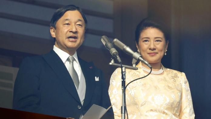 Nhật hoàng Naruhito và Hoàng hậu Masako phát biểu nhân dịp năm mới 2020 tại hoàng cung ở Tokyo. Ảnh: Kyodo