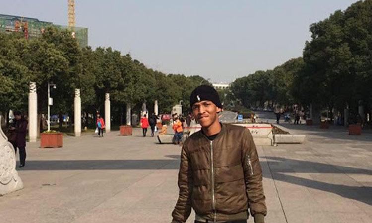 Kamohelo Taole, sinh viên Nam Phi, tại Đại học Hồ Bắc ở thành phố Vũ Hán. Ảnh: Facebook@Kamohelo Taole.